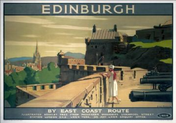 Edinburgh Castle Vintage Railway Travel Poster Print by LNER